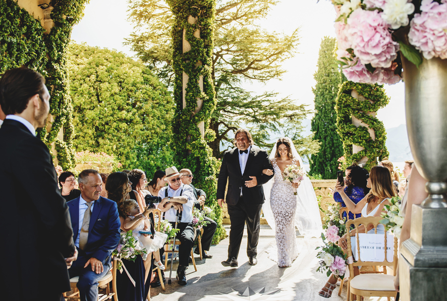 Bride-and-her-father-walking-the-aisle-at-Villa-Balbianello-cermeony-terrcae-by-My-Lake-Como-Wedding