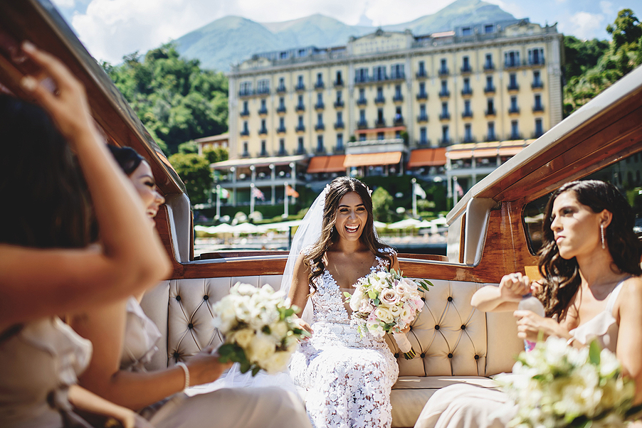 Bride-on-speed-boat-at-Grand-Hotel-Tremezzo-Lake-Como-by-wedding-planner-My-Lake-Como-Wedding