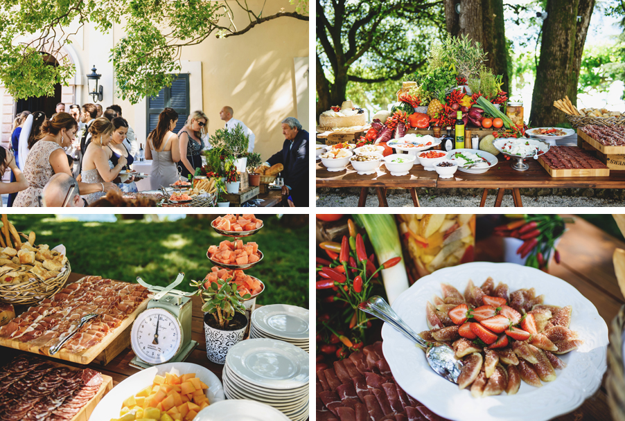 Four-images-showing-an-Italian-food-aperitivo-at-Villa-Balbianello-by-wedding-planner-My-Lake-Como-Wedding
