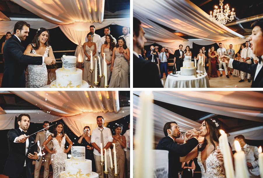 Four-images-showing-the-bride-and-groom-cake-cutting-and-champagne-sabor-with-tenors-singing-by-Lake-Como-Wedding-planner