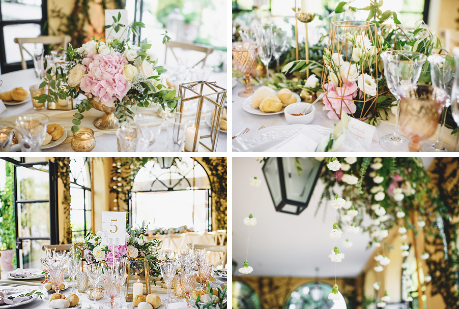 Four-inages-showing-gold-elegant-wedding-decoration-in-the-dining-room-by-wedding-planner-My-Lake-Como-Wedding