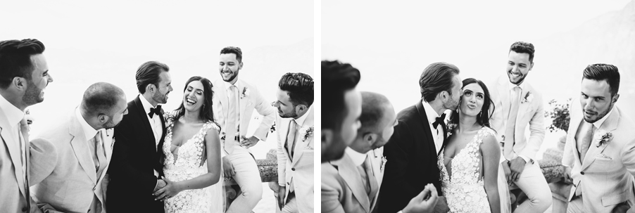 Two-black-and-white-images-of-groomsmen-with-bride-for-wedding-photography