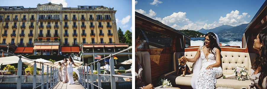 Two-images-showing-bride-with-her-bridesmaid-and-dog-on-boat-by-My-Lake-Como-Wedding