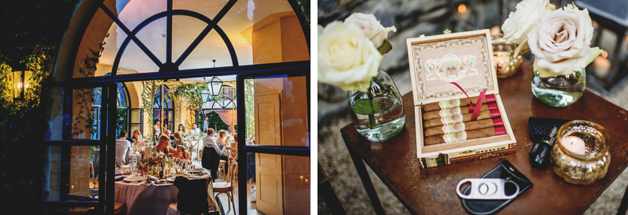 Two-images-showing-eveing-wedding-details-with-cigar-bar-by-wedding-planner-My-Lake-Como-Wedding