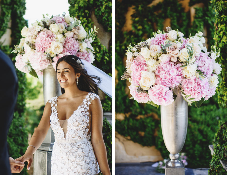 Two-images-showing-the-bride-with-her-ceremony-flowers-urns-at-Villa-Balbianelllo-by-wedding-planner-My-Lake-Como-Wedding