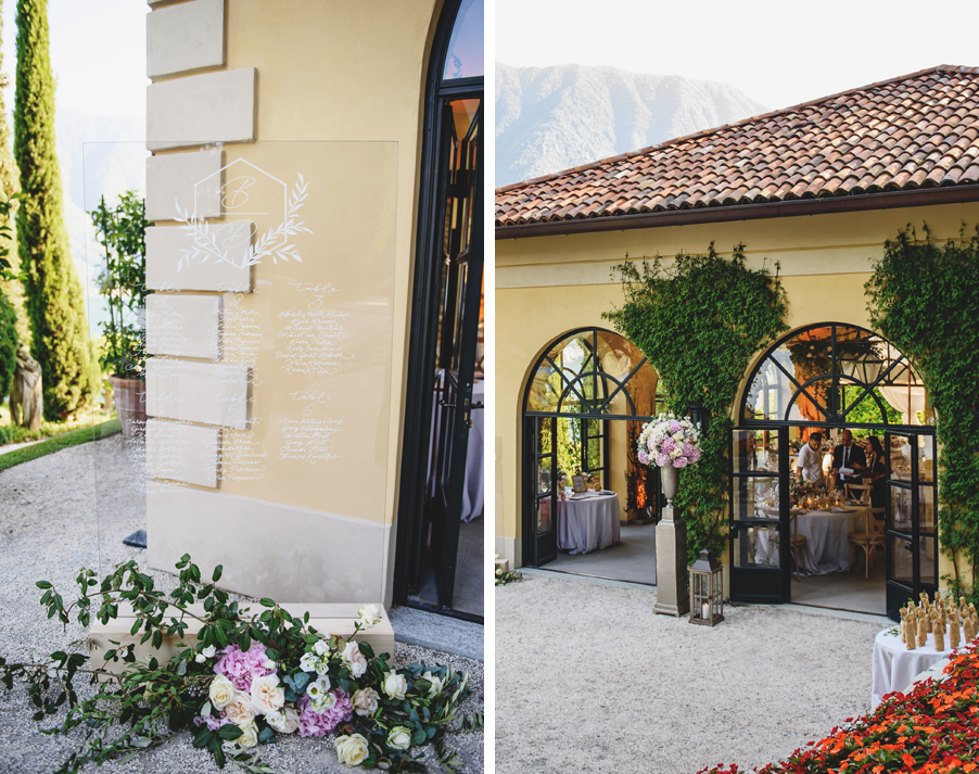 Two-images-showing-the-wedding-dining-seating-plan-and-orangery-dining-room-at-Villa-Balbianello