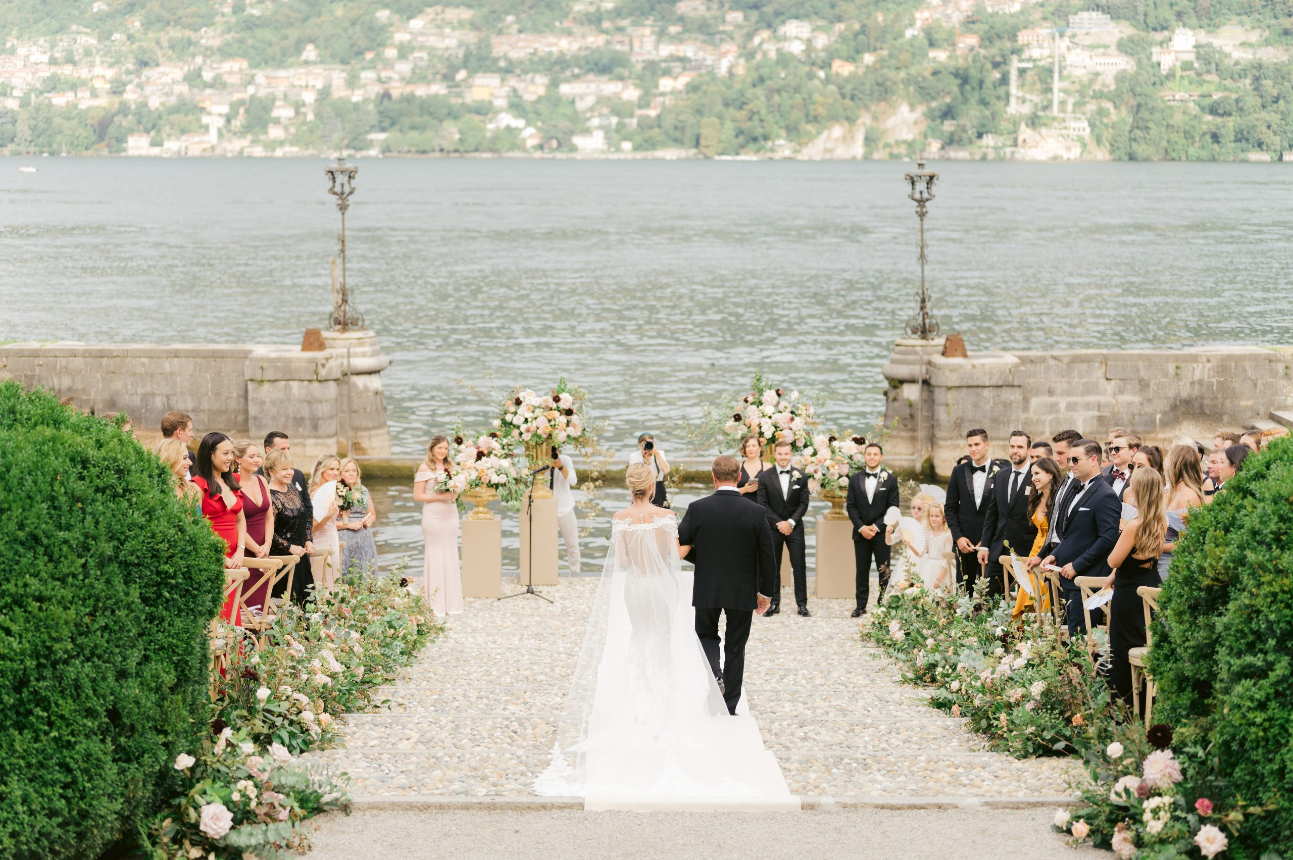 Bride-and-Dad-walking-to-the-ceremony-at-Villa-Erba-bby-My-Lake-Como-Wedding-scaled