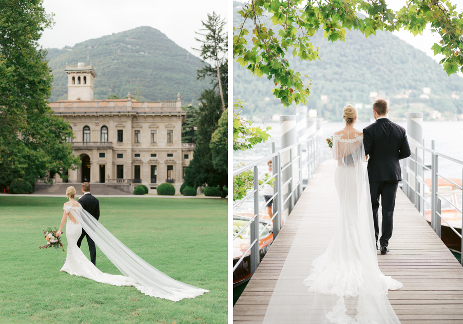 Bride-and-groom-walking-to-the-boat-port-to-meet-Riva-boat-by-wedding-planner-My-Lake-Como-Wedding