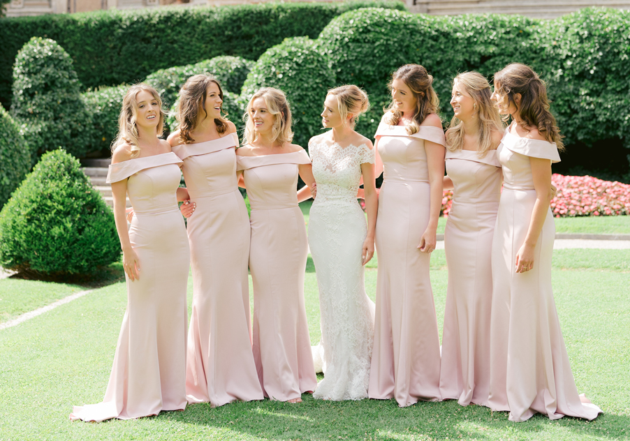 Bride-and-her-bridesmaids-on-the-lawn-by-wedding-planner-My-Lake-Como-Wedding