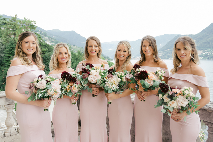 Bridesmaids-together-in-pink-with-flower-bouquets-wedding-planner-My-Lake-Como-Wedding