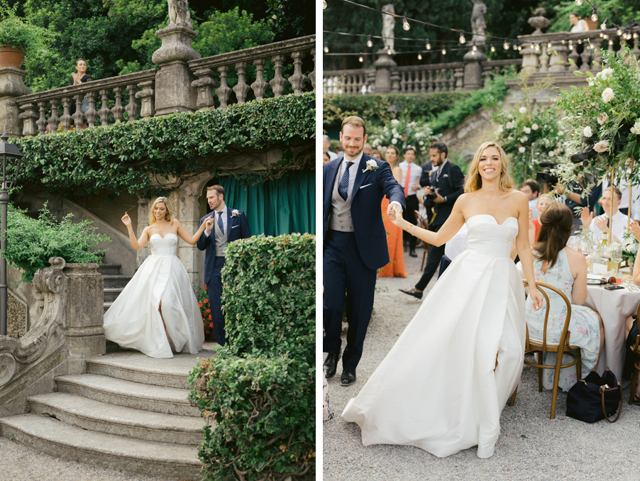 Bride-and-groom-enter-the-dining-area-for-thier-wedding-reception-on-Lake-Como