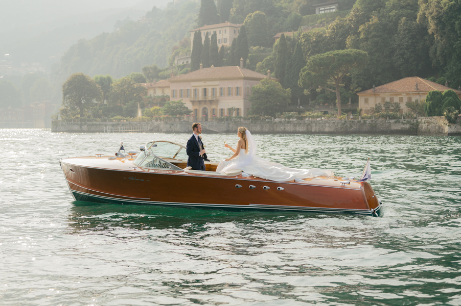 Bride-and-groom-on-Riva-speed-on-Lake-Como