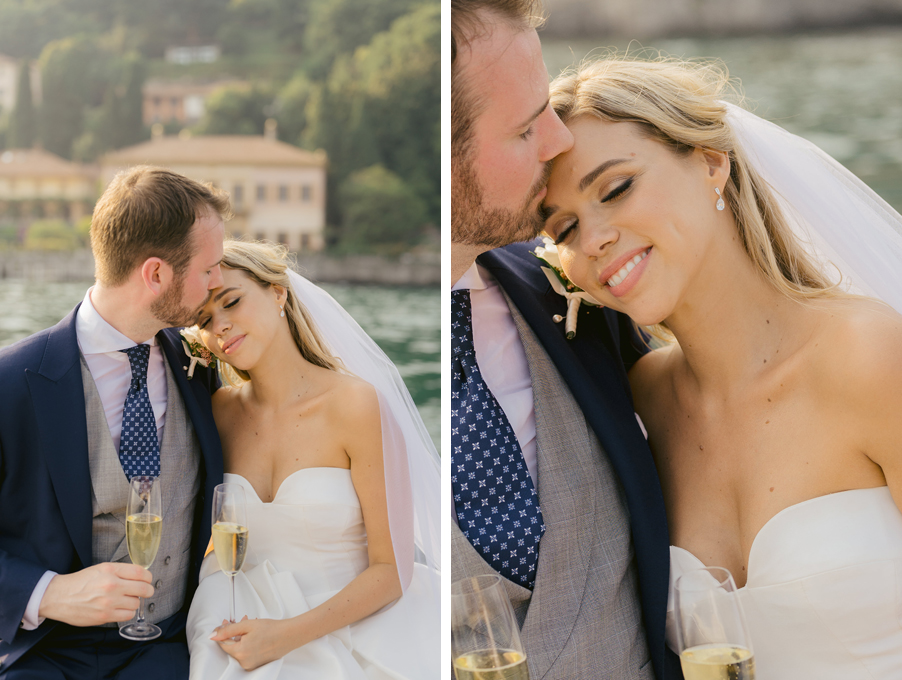 Bride-and-groom-photoshoot-on-Lake-Como-on-Riva-speed-boat