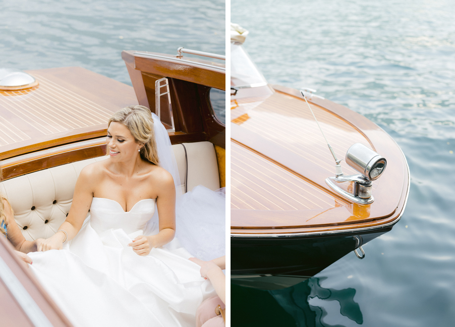 Bride-catches-a-boat-to-go-to-wedding-ceremony-on-Lake-Como