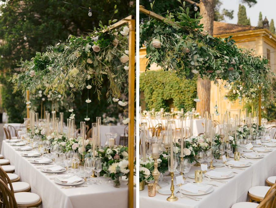 Dining-table-set-up-with-overhead-flower-canopy-at-Villa-Pizzo-on-Lake-Como
