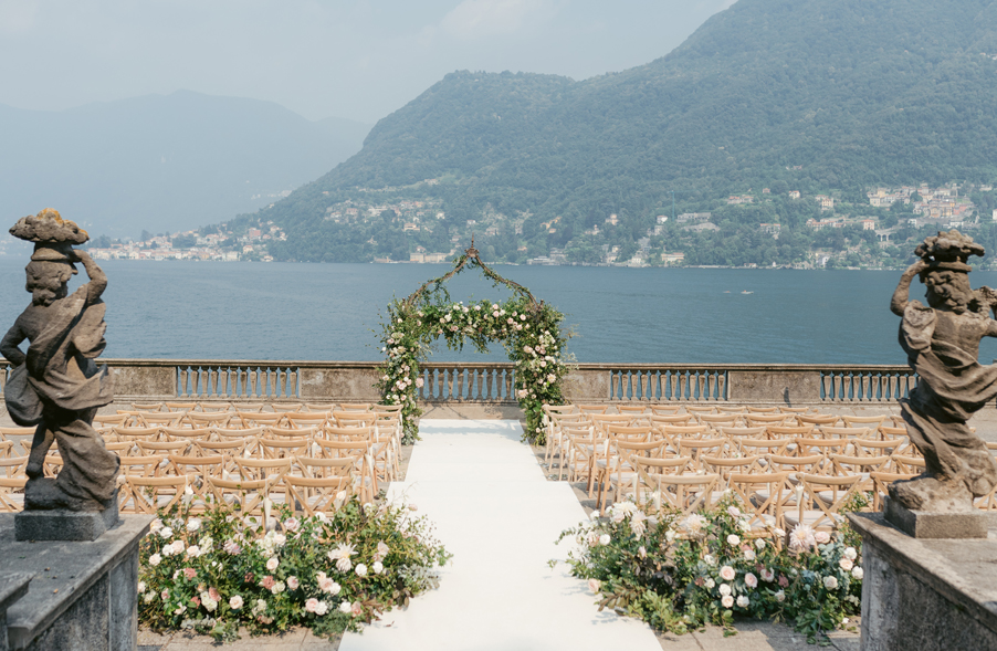 Villa-Pizzo-set-for-a-wedding-ceremony-with-beautiful-flowers