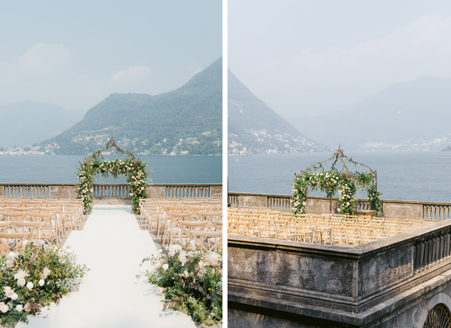 Wedding-ceremony-location-at-Villa-Pizzo-on-Lake-Como-with-arch-and-flowers